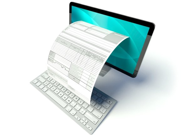 Desktop computer screen, tax form or invoice